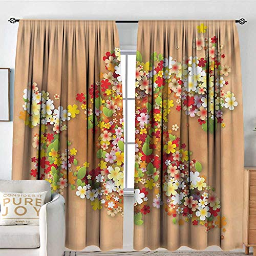 Petpany Customized Curtains Floral,Summer Season Sale Banner with Paper Flowers and Black Frame Illustration,Orange Red and White,for Room Darkening Panels for Living Room, Bedroom 72
