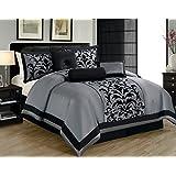 1kidandaheadache's 8 Piece Queen Dawson Donna Black and Grey Gray Silver Comforter Set Bed in a Bag by 1kidandaheadache