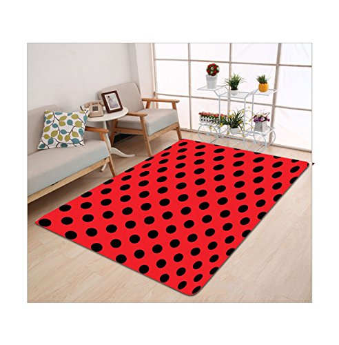 Kisscase Custom carpet Red and Black Retro Vintage Pop Art Theme Old 60s 50s Rocker Inspired Bold Polka Dots Image Scarlet - 60s Film Costumes