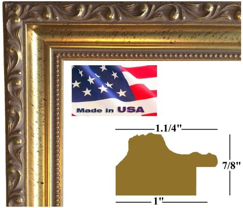 22x28 Gold Victorian Ornate 1.25 Inch Solid Wood Picture Poster Photo Frames #DM-G-W-1.25-8800