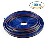 iCreating 100ft 4 Pin RGB Extension Cable Wire Cord for 5050 3528 Color Changing Flexible LED Strip Light