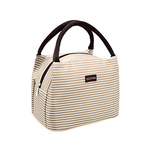 OZCHIN Insulated Lunch Bag for Women Compact Reusable Lunch Tote Cooler Bag Handbag for Adults Kids Students (Creamy Beige) by OZCHIN