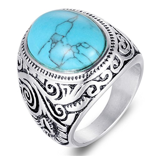 Gnzoe Men 316L Stainless Steel Bands Ring Blue Oval Created Turquoise Vintage 1.6Cm Size 12 Created Citrine Stainless Steel Ring