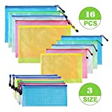Zipper File Folder Bags- 5Pcs A4 + 5Pcs A5 + 6Pcs Bills Mesh Office Bags 3Size 5Colors Zippered Waterproof PVC Document Pouch Plastic Zip Filing Folder