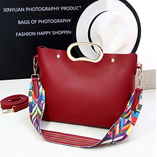 Wewod Mujeres 2 Conjuntos Moda Bolso de hombro Pequeño Bandolera de PU Cuero y Bolso de Mano Monedero 27 x 22.5 x 12 cm (L X H X W) Rojo 1