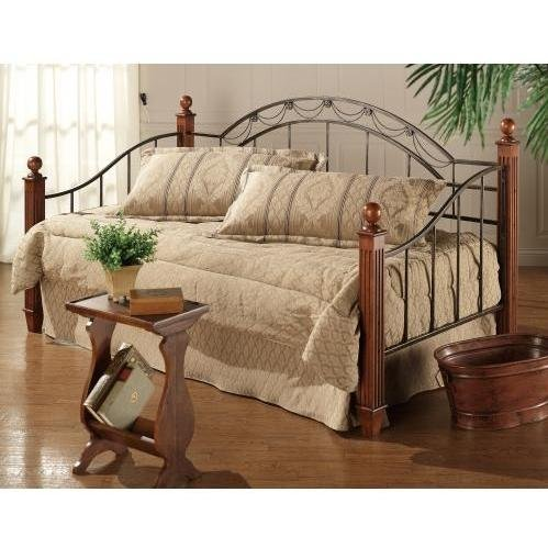 Daybed Cherry Trundle (Hillsdale Furniture Camelot Metal Daybed w Wood & Metal Post in Black & Gold Finish)