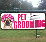 PET GROOMING 13 oz heavy duty vinyl banner sign with metal grommets, new, store, advertising, flag, (many sizes available)