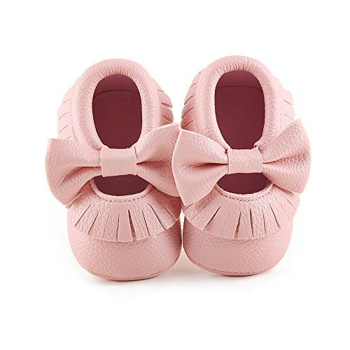 Delebao Infant Toddler Baby Soft Sole Tassel Bowknot Moccasinss Crib Shoes (0-6 Months, Pink)