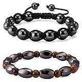 magnetic energy bracelet - 2pcs Magnetic Hematite Bracelets, Healing Energy Tiger Eye Gemstone Shamballa Handcrafted Macrame Bead Stretch HS001-2Pcs