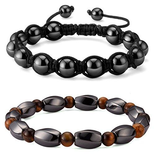 2pcs Magnetic Hematite Bracelets, Healing Energy Tiger Eye Gemstone Shamballa Handcrafted Macrame Bead Stretch HS001-2Pcs