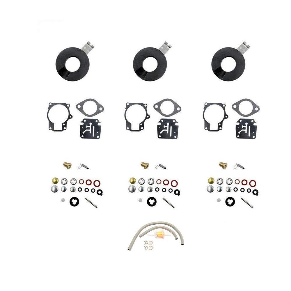 DEF Carburetor Rebuild Kit for Evinrude Johnson 398729 396701 392061 Mallory 9-37107 Sierra 18-7222 18 20 25 28 30 35 40 45 48 50 55 60 65 70 75 HP Outboard Motors (3 package)