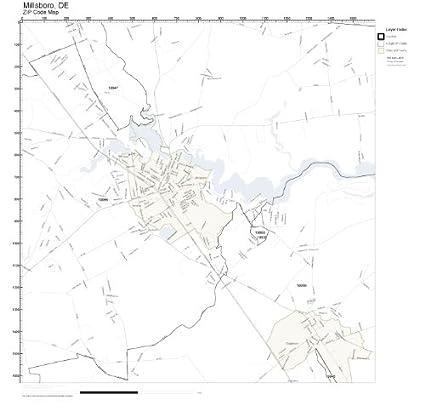 Amazon Com Zip Code Wall Map Of Millsboro De Zip Code Map