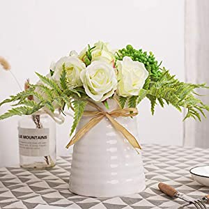 YUYAO Artificial Flowers Rose Bouquets with Vase Fake Silk Flower with Ceramic Vase Modern Bridal Flowers for Wedding Home Table Office Party Patio Decoration 7