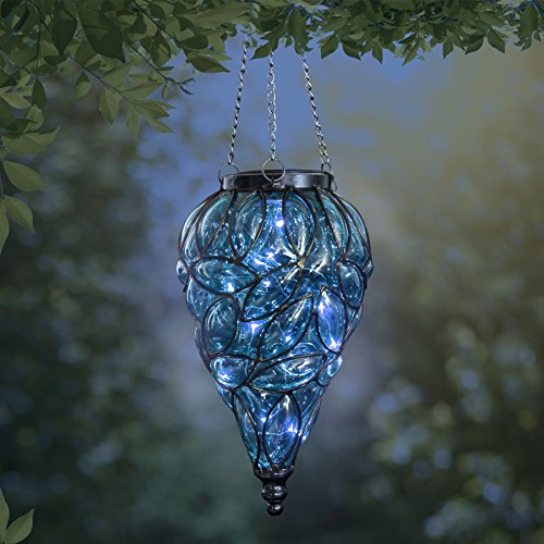 Exhart Blue Solar Lantern - Glass Tear-Shaped Hanging Lantern - Teardrop Glass Ceiling Lantern Hangs in a Metal Cage w/ 12 Blue LED Firefly Solar Lights 7'' L x 7'' W x 24'' H by Exhart (Image #2)
