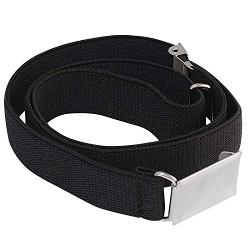 Buyless Fashion Kids And Baby Adjustable And Elastic Dress Stretch Belt With Silver Buckle - Black