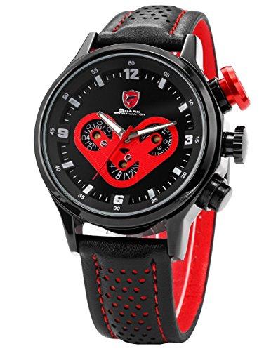 SHARK 6 Hands 3 Dial Date Day Black Leather Men Sport Quartz Red Wrist Watch (3 Hand Day Date Watch)