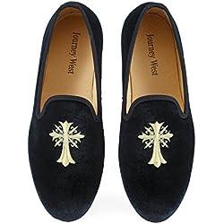 Men's Vintage Velvet Loafer Men Embroidery Noble Men Shoes Slip-on Loafer Smoking Slipper Black/blue Us 6-13 (US 11, Black Cross)