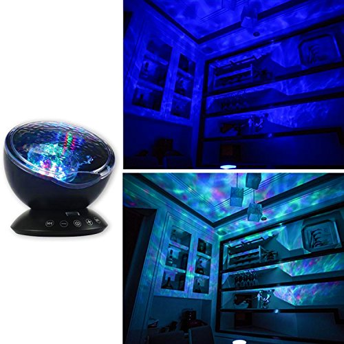Ocean Waves Projector Night Lights with Sleep Soother Music and Remote for Babies Toddlers Adults Bedroom Living Room for Relaxing Light or Sound Therapy with Rain and Thunder DVD