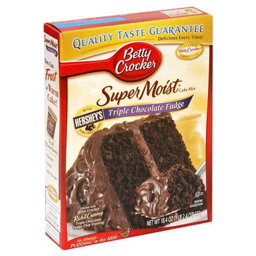 Betty Crocker Supermoist Cake Mix, Triple Chocolate Fudge, 18.4-Ounce Boxes (Pack of 12)