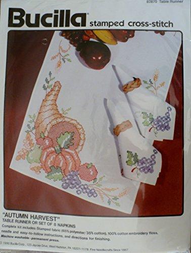 Autumn Harvest Table Runner Stamped Cross Stitch Kit