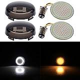 883 sportster driving lights - NTHREEAUTO Smoke Front Turn Signal Light Lens w/ LED Panel for Harley FXSB FXDL FLTRXS FLS(Amber & White)