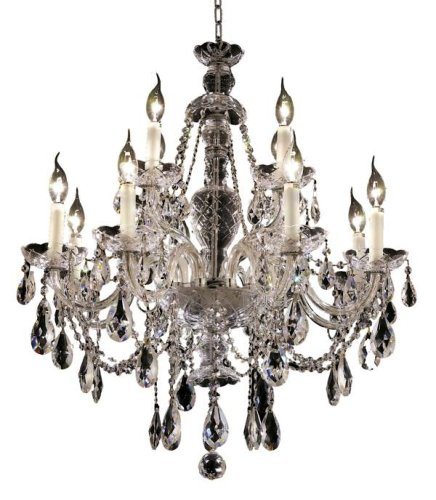 Elegant Lighting 7829D28C/RC Alexandria 12-Light Chandelier, Finish with Crystal (Clear) Royal Cut RC Crystal, 31