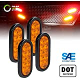 """4pc 6"""" Oval Amber LED Trailer Tail Lights [DOT Certified] [Grommet & Plug Included ] [IP67 Waterproof] Park Turn Trailer Lights for RV Jeep Trucks"""