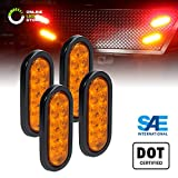 4pc 6' Oval Amber LED Trailer Tail Lights [DOT Certified] [Grommet & Plug Included ] [IP67 Waterproof] Park Turn Trailer Lights for RV Jeep Trucks