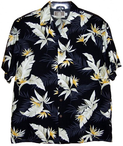 RJC Mens Bird of Paradise Feather Rayon Shirt Black L Bird Of Paradise Feathers