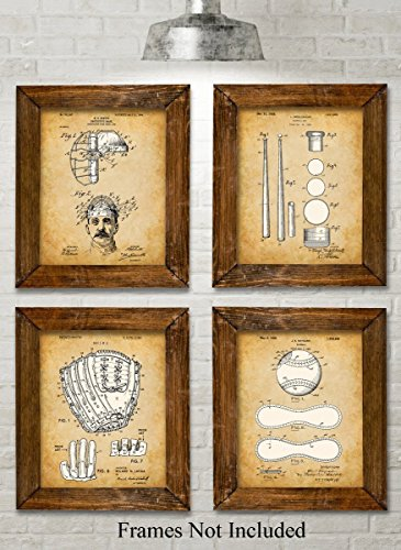 Baseball Jersey Wall Art - Original Baseball Patent Art Prints - Set of Four Photos (8x10) Unframed - Great Gift for Baseball Players or Boy's Room Decor