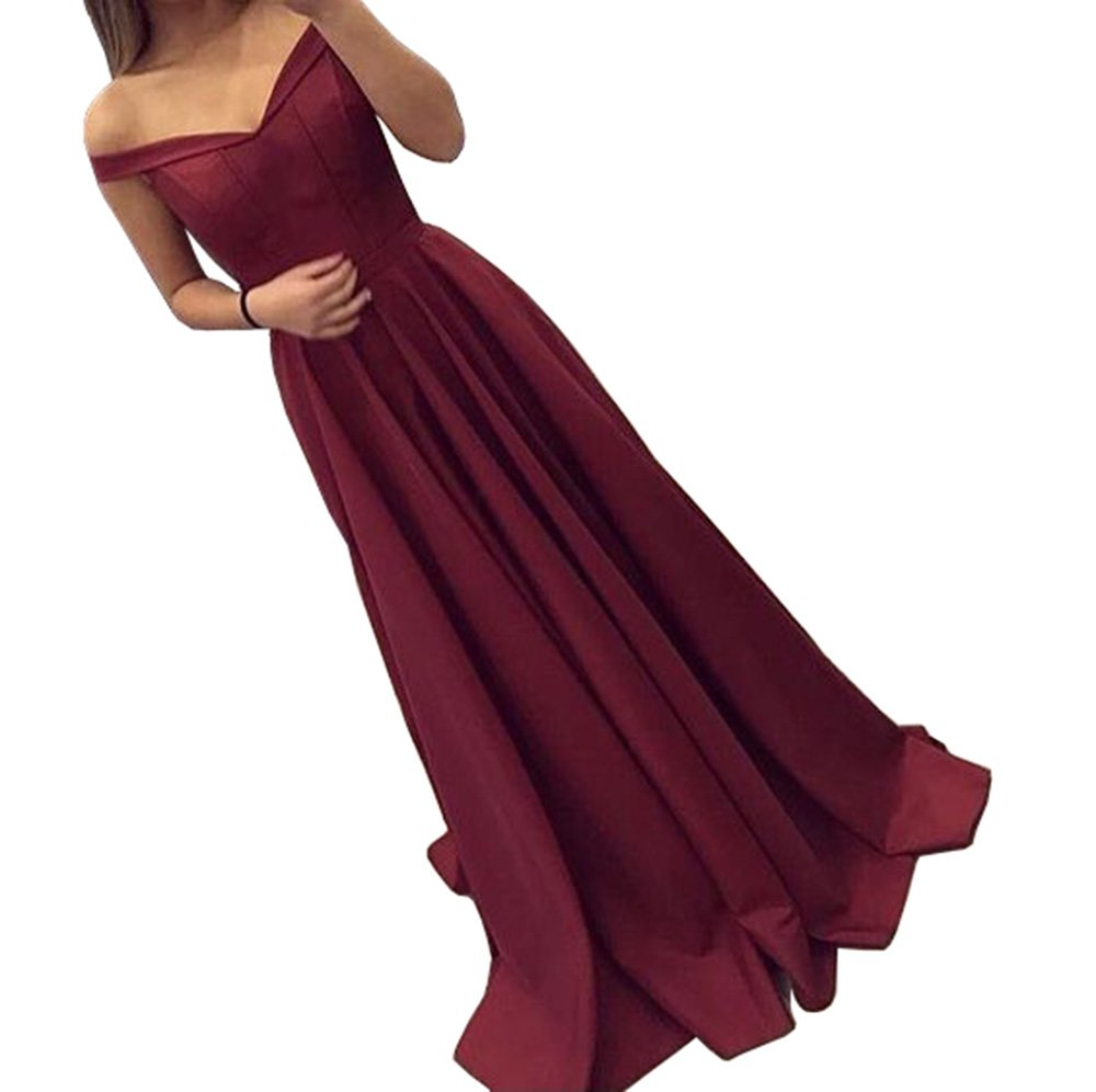 Dressylady 2017 Burgundy Off-Shoulder A Line Long Prom Homecoming Dress Evening Gowns(4)
