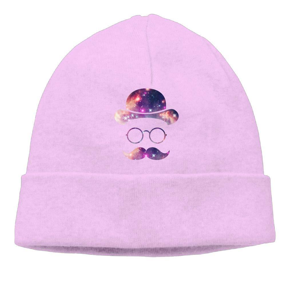 Oopp Jfhg Galaxy Moustache Glasses Beanies Knit Hats Skull Caps Mens Pink