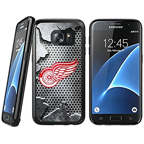 Samsung Galaxy S7 TPU Case, Detroit Red Wings Samsung Galaxy S7 Rubber Tough Backplate Cover - Backplate Wing
