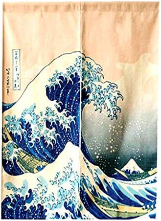 LIGICKY Japanese Noren Doorway Curtain Ukiyoe Hokusai The Great Wave Off Kanagawa Tapestry for Home Decoration 85 120cm