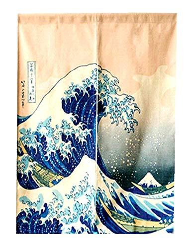 LIGICKY Japanese Noren Doorway Curtain Ukiyoe Hokusai The Great Wave Off Kanagawa Tapestry for Home Decoration 85×120cm