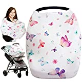 iLuvBamboo Car Seat Covers For Babies - Nursing Cover Multi-Use Protector - Infant Carseat Canopy, Stroller, Shopping Cart, Highchair, Breastfeeding & Scarf. Best Baby Gifts For Registry & Baby Shower