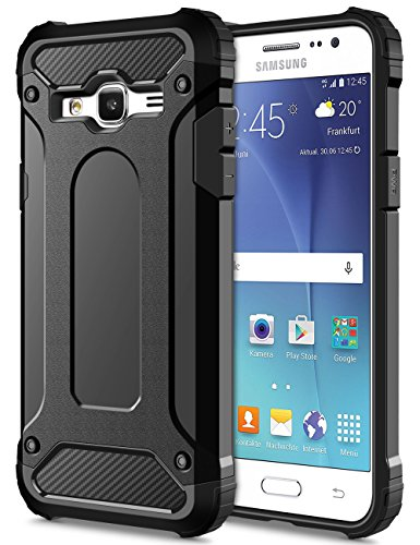 Slim Fit Hybrid Case for Samsung J5 (Black) - 7