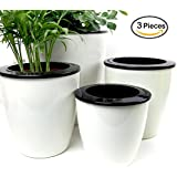 Mkono 3 Pack Self Watering Planter White Flower Pot, M