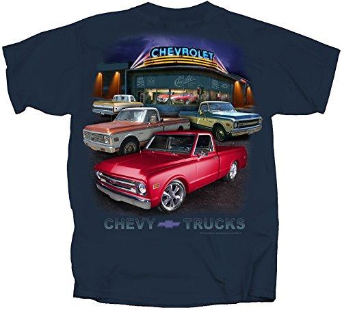 Joe Blow GM Chevy Truck Dealer Scene 67-72 Adult T-Shirt, X-Large, Blue Dusk - Chevy Truck T-shirt