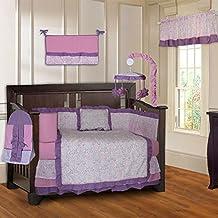 BabyFad Damask Girls Pink and Purple 10 Piece Baby Crib Bedding Set