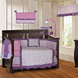 BabyFad Damask Girls Pink and Purple 10 Piece Baby Crib Bedding Set
