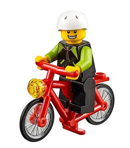 Price comparison product image LEGO City MiniFigure: Cyclist w / Bicycle (Lime & Black Jacket) 60134
