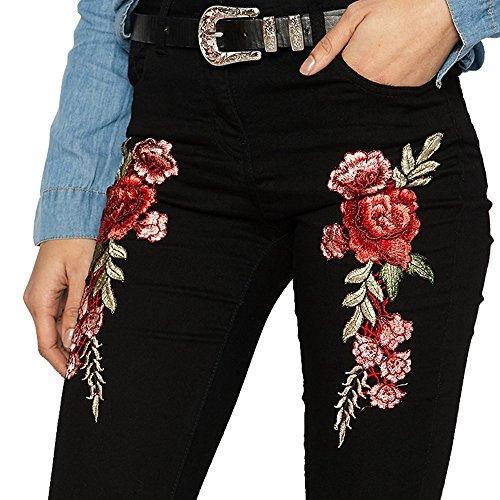 Femme Trous Taille Jeans Denim Pantalon Aelegant Haute Noir Broderie 1THURn1a