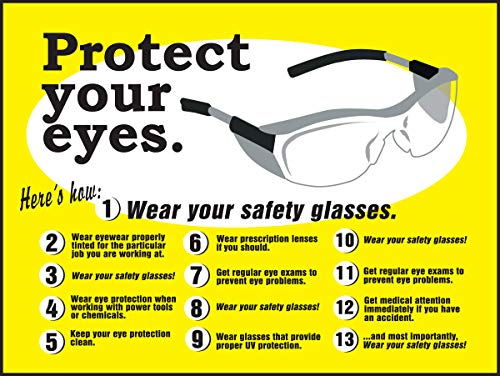 Safety Posters: Safety Glasses/Protect Your Eyes Laminated Poster, 22' x 17'