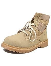CHNHIRA Unisex's Couple Retro Work Shoes Lace Up Martin Boot