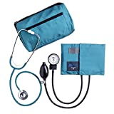 MABIS MatchMates Aneroid Sphygmomanometer and Dual Head Stethoscope Combination Home Blood Pressure Kit with Calibrated Nylon Cuff, Professional Quality, Carrying Case, Teal