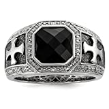 925 Sterling Silver Diamond And Onyx Black Cross Ring 9 Size (0.1ct )