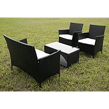 4 PCS Cushioned Outdoor Wicker Patio Set Garden Lawn Rattan Sofa Furniture