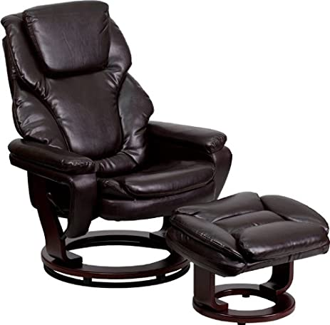 Flash Furniture Contemporary Brown Leather Recliner and Ottoman with Swiveling Mahogany Wood Base  sc 1 st  Amazon.com & Amazon.com: Flash Furniture Contemporary Brown Leather Recliner ... islam-shia.org