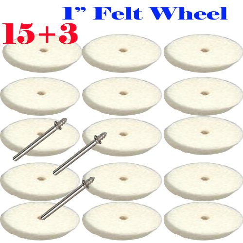 "UPC 756681666423, 15+3 Felt Polishing 1"" Wheel Tip Disc for Dremel / 429 Rotary Tool Mandrel 401 1/8"" Suit for Dremel 3000 4000 8220-2/28 395 7700-1/15 4000 3/34 Chicago Electric, Milwaukeen Nextec 1/8"" Shank Hobbyy Clean Polish"
